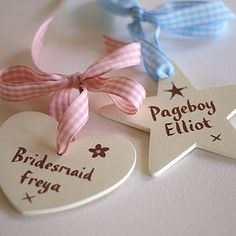 Personalised hanging hearts and stars for Bridesmaids and Pageboys.
