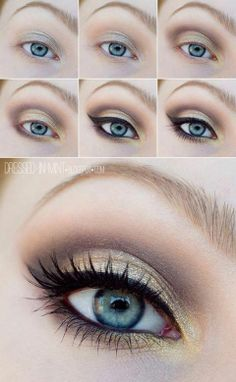 gold eyeshadow for blue eyes