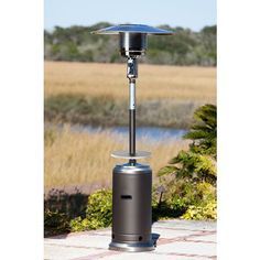 Fire Sense Mocha And Stainless Steel Patio Heater With Table