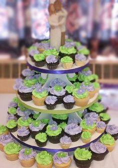 Purple & Green Wedding Cupcake Tower