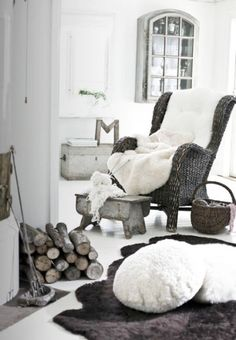 I feel like a senior liking this picture. But oh, a rocking chair, footstool, blanky and fireplace!