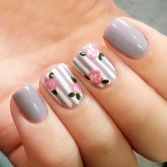 Try out something different for every one of your nails and you will be surprised. You may also customize your nails a lot simpler. In the event the nail is short it is far better to go for a design acceptable for that nail. Fake nails may also have art. Toe Nails, Pink Nails, Floral Nail Art, Gray Nail Art, Nail Swag, Super Nails, Flower Nails, Trendy Nails, Nails Inspiration