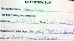 This detention slip:
