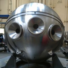 The new Alvin personnel sphere arrive at WHOI on today and work will begin on reassembling the submersible, which was completely disassembled in early 2011 so that critical components could be upgraded and improved. In addition to a larger, stronger titanium sphere, it has two more forward viewports than previous spheres that will greatly improve scientists' view of the deep, a new command and control system, and new lighting and imaging systems. (Photo by Kurt Uetz, Woods Hole)