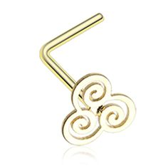 Golden Color Gold Trinity Swirl L-Shaped Nose Ring - 20 G - Sold as a Pair