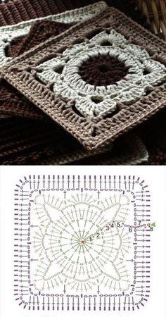 [무료도안]사각모티브, 모티브백 : 네이버 블로그 Mandala Au Crochet, Crochet Diy, Crochet Amigurumi, Chunky Crochet, Love Crochet, Crochet Motif, Crochet Stitches, Beautiful Crochet, Scarf Crochet
