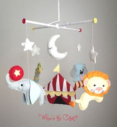 Handmade & Customizable Circus Themed Baby Mobile - A Night at the Circus - For Baby Boy OR Girl. $75.00, via Etsy.