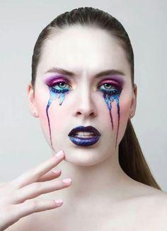 Beautiful multicolored teardrop makeup