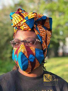 HEADWRAP & FACE MASK set, African Print Face Mask, Ankara Mask, 100% Cotton Reusable Face Mask w/ Filter Pocket, Shaped Mask HWFM2003 Gcse Art Sketchbook, Face Mask Set, African Attire, Fashion Face Mask, Hippy, Head Wraps, Ankara, African Fashion, Handcrafted Jewelry