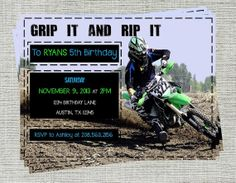Grip it & Rip it Dirtbike Invitation Blue by aRodgersDesigns, $12.00