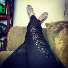 Mustache boat shoes and Victoria's Secret lace front leggings.