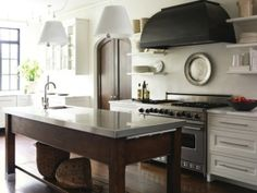 stainless steel topped island