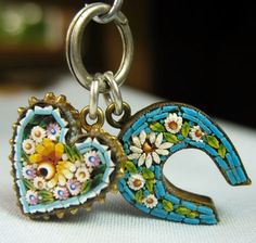 Italian micro mosaic heart and horseshoe charms on the same ring - sold for 157USD