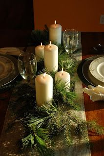 Kicking off Creating Christmas today! Today's project covers a lot of bases. It's a table setting, a magazine knock off and a center piece. And it's cheap! You won't even need hot glue. Christmas Table Settings, Christmas Tablescapes, Christmas Table Decorations, Holiday Tables, Dinner Table, A Table, Christmas Holidays, Christmas Crafts, Christmas Meals