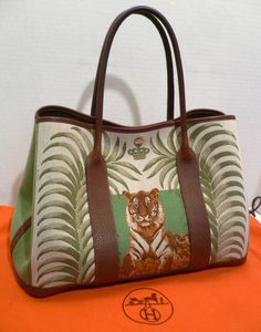 HERMES Tiger GARDEN PARTY Toile Leather Silver Hardware Tote Bag Purse  Handbag Hermes Paris 7bf971bb14655