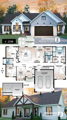 Spacious 3 bedroom Farmhouse style house plan with formal dining, large family room and lots of light. Spacious 3 bedroom Farmhouse style house plan with formal dining, large family room and lots of light. House Plans 3 Bedroom, Family House Plans, Ranch House Plans, Dream House Plans, Small House Plans, Dream Houses, House Design Plans, 3 Bedroom Home Floor Plans, One Floor House Plans