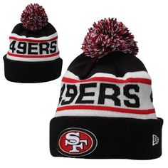 Mens   Womens San Francisco 49ers New Era NFL Biggest Fan Redux Cuffed Knit  Pom Pom Beanie Hat - Black   White 05b270d76