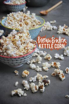 Easy Brown Butter Kettle Corn snack recipe - with popcorn, brown sugar, butter, coconut oil and sea salt