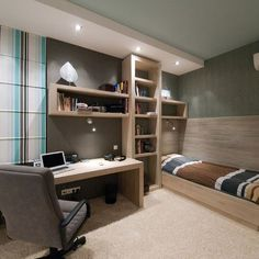 I chose this image because of the color scheme and excellent use of shapes and lines. This space is functional for a home office, but still provides space to relax with the extra bench seating and with its use of a calming color scheme. Vertical and horizontal lines can be seen throughout on the wall treatments and in the cabinetry. Overall, this space has a good balance.