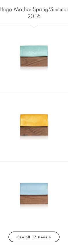 """""""Hugo Matha: Spring/Summer 2016"""" by livnd ❤ liked on Polyvore featuring bags, handbags, shoulder bags, white shoulder bag, white shoulder handbags, wooden purse, shoulder handbags, alligator handbags, wood purse and structured handbags"""