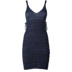 Kenzo Ruffle-Trim Lurex-Knit Mini Dress ($380) ❤ liked on Polyvore featuring dresses, blu, spaghetti strap dress, blue dress, blue ruffle dress, ruffled dresses and metallic mini dress