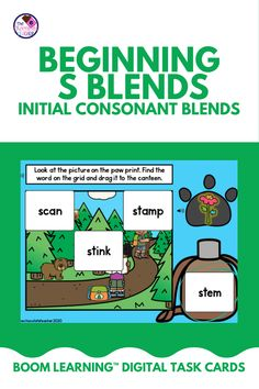 Are you teaching initial consonant blends and are looking for an engaging activity to use? This BOOM Learning digital task card set practices beginning S Blends. This set has 3 different activities that are worksheet free and perfect for kindergarten, first grade, or second grade students! These cards are SELF-CORRECTING, which saves teachers time. Teachers can view reports of their students' progress. Use these for ELA centers, homework, or distance learning! {1st grade, 2nd grade} First Grade, Second Grade, Initial Sounds, Consonant Blends, Educational Activities, Deck Of Cards, Task Cards, Homework, Distance