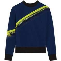Christopher Kane Crochet-trimmed scuba-jersey sweatshirt (9 435 UAH) ❤ liked on Polyvore featuring tops, hoodies, sweatshirts, christopher kane, navy, graphic sweatshirts, crochet trim top, navy sweatshirt, jersey sweatshirt and navy blue jersey