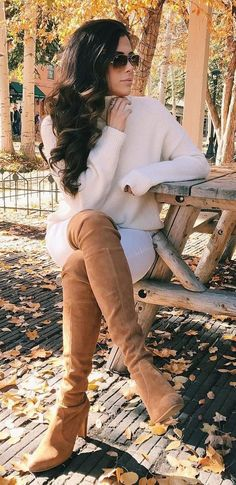 #fall #outfits · Cream Sweater & Cognac Knee Length Boots