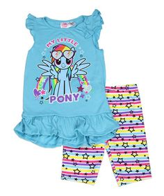 Another great find on #zulily! Blue Rainbow Dash Tank & Leggings - Girls #zulilyfinds