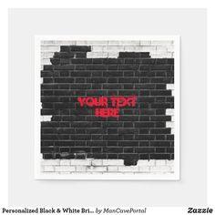 Shop Personalized Black & White Brick Wall Napkins created by ManCavePortal. White Brick Walls, Ecru Color, Succulents Diy, Cocktail Napkins, Business Supplies, Portal, Colorful Backgrounds, Party Supplies, I Shop