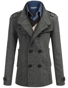 Mens Wool Slim Double Breasted Half Trench Coat #doublju