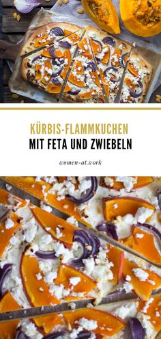 Kürbis-Flammkuchen mit Feta und Zwiebeln Cheesesteak, Summer Vibes, Feta, Ethnic Recipes, Savory Foods, Eat Lunch, Healthy Food Recipes