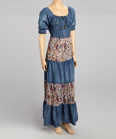 Take a look at this Miss Maxi Blue Denim Floral Dress on zulily today!