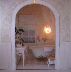 very romantic, I love it! It was so much fun to create! Home Reno, Miniature Dolls, Doll Houses, Sd, Minis, Bathrooms, Bathtub, Miniatures, Romantic