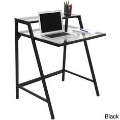 Get organized with this modern style two tier computer desk. With having two tiers of space, your work area will be clean and clutter-free.