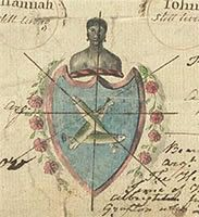 This intriguing image shows the escutcheon of the Troutbeck family of Cheshire - topped by a Black person who appears to be bound. Like the coat of arms of John Hawkins, the Troutbecks' arms suggest that they were involved in the slave trade. Little is known about the practice of displaying images of Black people in this way - but, as with many aspects of Black history, further research might well reveal more. C 107/121 (18th century)