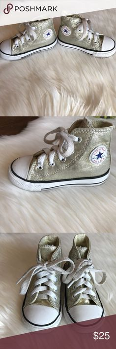 Converse Chuck Taylor All Star Metallic Canvas GUC.  Kids Converse Chuck Taylor All Star Metallic Hightops in light gold. They are adorable! Size 6 infant. Converse Shoes Sneakers