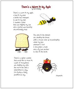 Kids' Poet Jack Prelutsky: Annual Booking Across the USA-A Book Long Enough there's a worm in my apple a book long enough Poetry Day, Poetry For Kids, Poetry Unit, Poetry Books, Preschool Poems, Fall Preschool Activities, Kids Poems, Funny Poems For Kids, Jack Prelutsky Poems