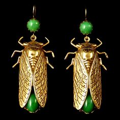 Gold Cicada Earrings (Jadeite Green)  By Askew London