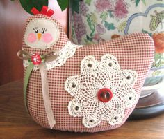 Hen Pillow Doll, Cloth Doll Chicken 7 inch Dark Red Check, Primitive Soft Sculpture Handmade CharlotteStyle Decorative Folk Art.