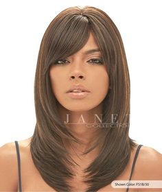 "Color shown: FS1B/30 - 100% Natural Brazilian Human Blend - Brazilian Scent Ruth Wig - Hair type: Human Hair Blend - Can be curled or flat ironed - Length:Approximately 14-16"" - Brand:Janet Collection"