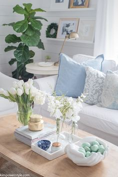 Spring Home Tour | Neutral Living Room Décor Ideas | White Slipcovered Couches | Fig Tree | Shiplap Walls Living Room