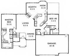 Plan 1436 3 bedroom ranch w tandem 3 car garage for House plans with hearth room