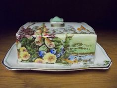 Royal-Winton-Covered-Butter-Dish-Scenic-Flowers-Trees-Church