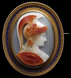 Athena.  Pommeraie Antiques - s353 - antique victorian vintage cameos, cameo brooch