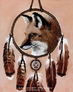 Native American Shaman Fox Medicine Wheel art print - Brandy Woods Nice Concept. Maybe Red Tail Hawk feathers with fox claw accents. Fox fur wrap. Silver and red webbing. Move picture of fox to small circle beneath.
