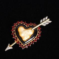 "<b>Trifari Pearl Belly Arrow Thru The Heart pin with black enamel and red rhinestones</b> 3 1/2"""