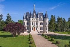 Wish upon a star: fairytale castle with Disney-style turrets and two swimming pools for sale in France Castle House Plans, Small Castles, Unusual Buildings, English Tudor, Unusual Homes, Fairytale Castle, Water Tower, Medieval Castle, Disney Style