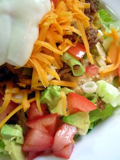 Taco Salad - Yum!  Nice and easy and very tasty...could also make with fish or chicken. No sodium no low fat sour cream