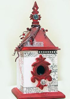 Birdhouse--looks like this has some 'music' papered on it!  ANOTHER use for some of my old music!